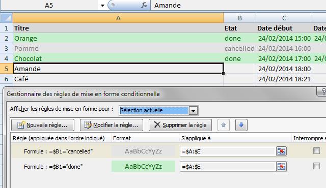 Excel mise en forme conditionnelle colorer toute la ligne