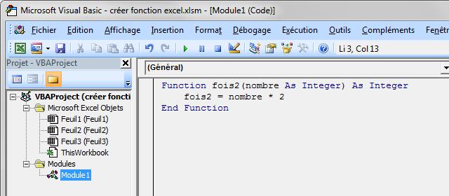 Fonction macro dans un module excel