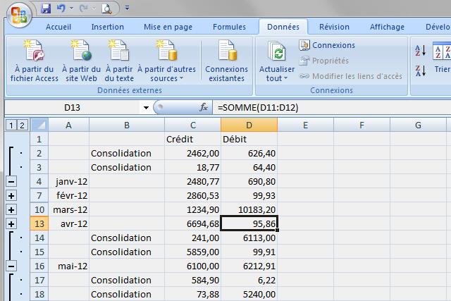 Grouper lignes consolidation données