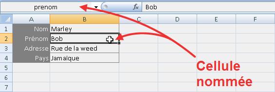 Nommer une cellule Excel 2007