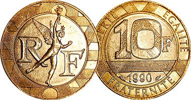 Une pièce de 10 francs Français